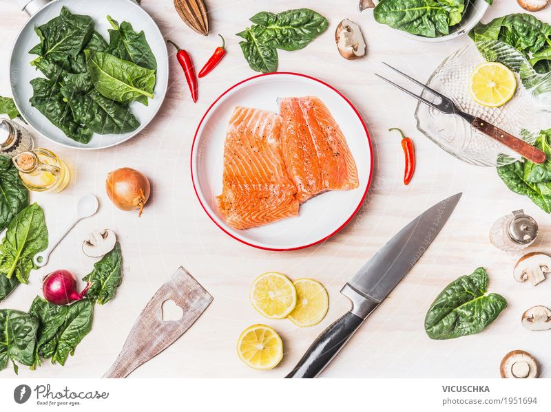 Healthy Eating Food photograph Life Style Design Living or residing Nutrition Table Fish Herbs and spices Cooking Kitchen Vegetable Organic produce