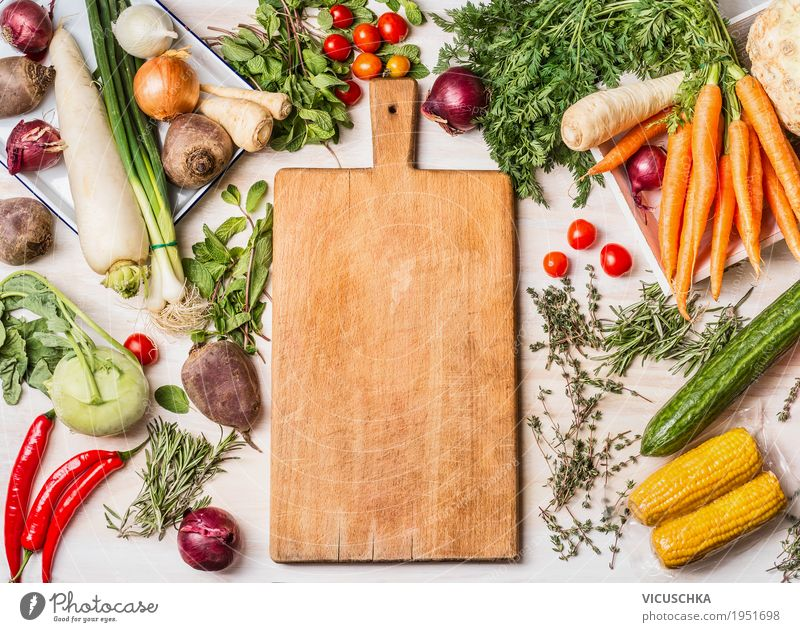Cutting board and various vegetables for cooking Food Vegetable Lettuce Salad Nutrition Organic produce Vegetarian diet Diet Shopping Style Design Healthy