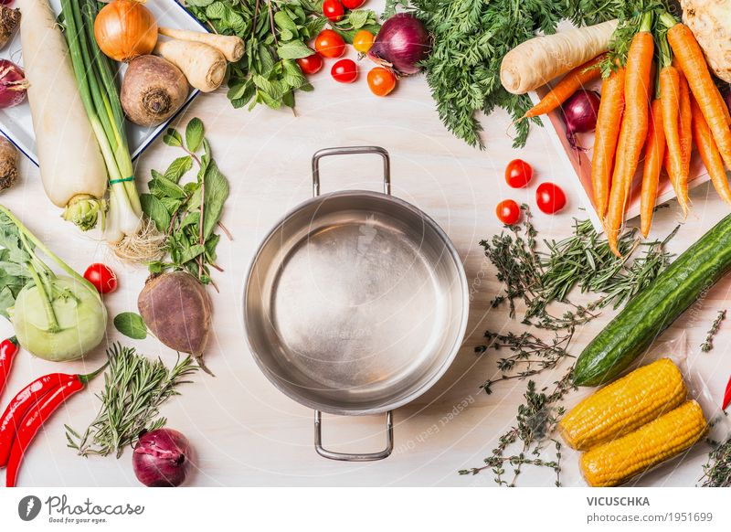Empty saucepan and organic vegetables selection Food Vegetable Soup Stew Nutrition Lunch Dinner Organic produce Vegetarian diet Diet Crockery Pot Style Design
