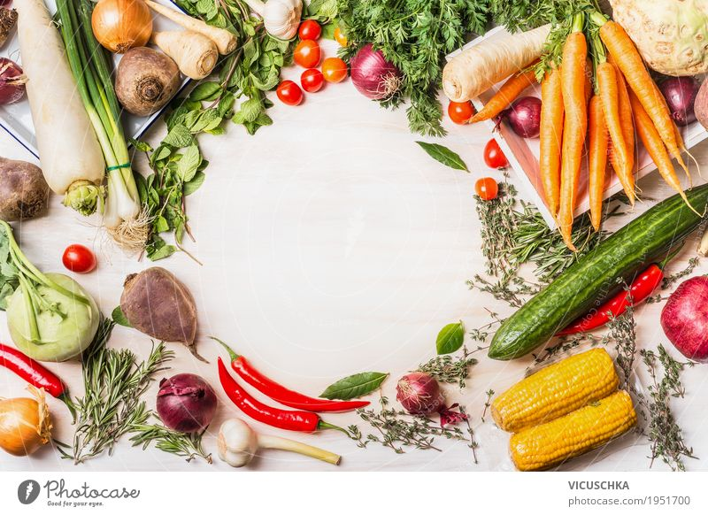 Variety of organic vegetables for delicious vegetarian cuisine Food Vegetable Herbs and spices Nutrition Organic produce Vegetarian diet Diet Style Design