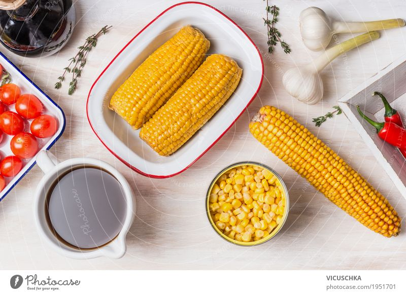 Ingredients for corn soup Food Vegetable Grain Soup Stew Herbs and spices Lunch Dinner Organic produce Vegetarian diet Diet Crockery Bowl Style Healthy