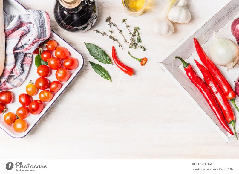 Spicy cuisine Food Vegetable Herbs and spices Cooking oil Nutrition Organic produce Vegetarian diet Diet Crockery Style Design Healthy Healthy Eating Life Table