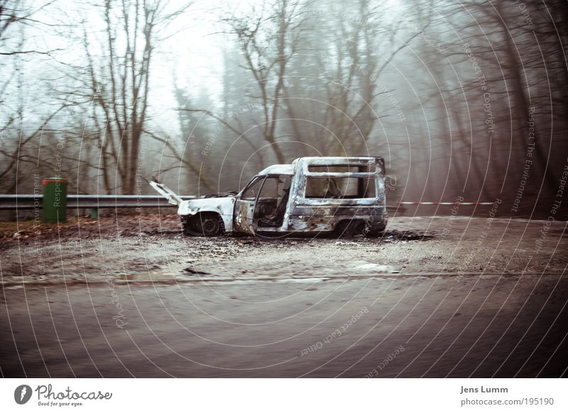 """You have reached your destination"" Tree Street Car Dirty Broken Green Violet Red Disaster Surrealism Wreck Transporter Burnt out Roadside Misty atmosphere"