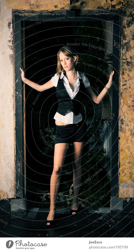 Woman Human being Beautiful Life Dark Wall (building) Style Wall (barrier) Legs Power Dirty Fashion Blonde Adults Door Portrait photograph