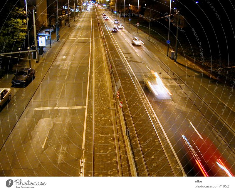 quickly Long exposure Night House (Residential Structure) Speed Driving Transport Street Car Movement