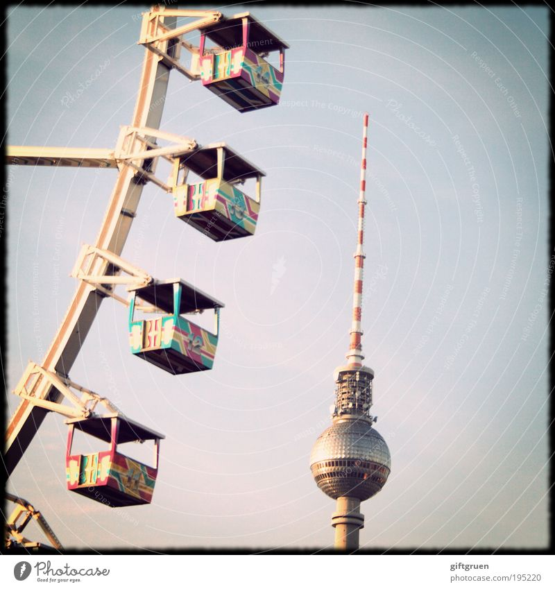 Sky Joy Berlin Architecture Trip Tall Tower Point Rotate Fairs & Carnivals Landmark Upward Vertical Tourist Attraction Capital city Berlin TV Tower