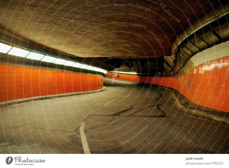 free passage for underworlders in the tunnel Tunnel Wall (building) Street Concrete Illuminate great Long Retro Gloomy Orange Modern Curve Median strip Tile