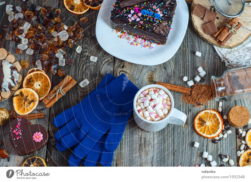 cup of hot chocolate and cookies among Cake Old Blue Christmas & Advent Winter Wood Gray Brown Above Fruit Fresh Table To enjoy Heart Herbs and spices Beverage Coffee