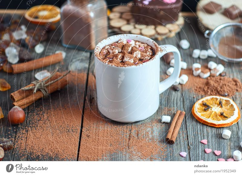 Cup with marshmallow sprinkled with cocoa powder Christmas & Advent Eating Natural Wood Food Gray Brown Above Orange Fruit Table Beverage Drinking Delicious Hot Dessert