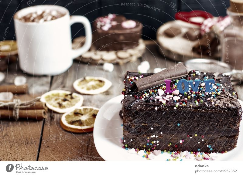 piece of chocolate cake on a white plate Sacher White Eating Love Wood Gray Brown Fruit Table Beverage Coffee Delicious Breakfast Restaurant Dessert Word Plate