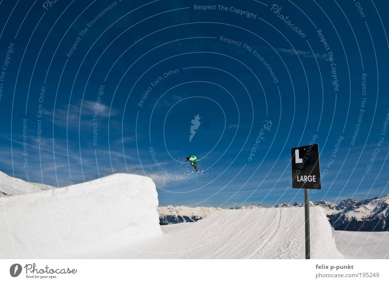 Winter Mountain Sports Jump Masculine Signs and labeling Success Tall Large Beautiful weather Snowcapped peak Risk Brave Ski resort Austria Inject