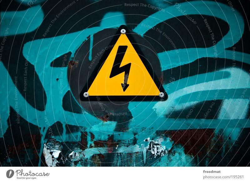 Blue Yellow Graffiti Dye Art Dirty Energy Electricity Dangerous Threat Signage Symbols and metaphors Arrow Lightning Turquoise