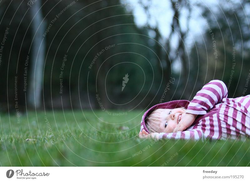 ::: I'm so happy! ::: Joy Happy Healthy Relaxation Playing Parenting Kindergarten Child Work and employment Toddler Girl Spring Grass Meadow Stripe To enjoy Lie