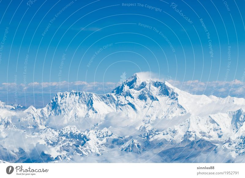 Mount Everest summit and himalaya range aerial view Nature Landscape Cloudless sky Mountain Peak Tourist Attraction Calm Himalayas Aerial photograph Nepal