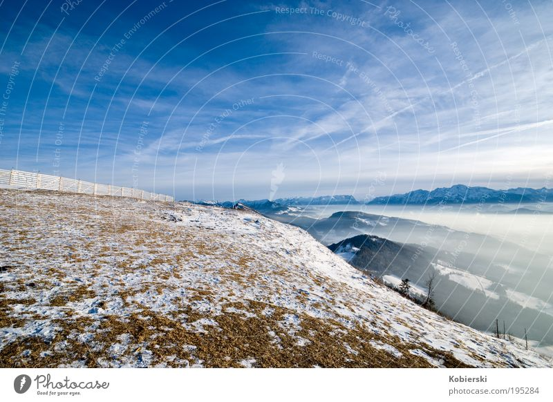 Journey into space Tourism Winter Snow Mountain Nature Landscape Sky Clouds Ice Frost Gaisberg Observe Discover To enjoy Gigantic Cold Blue Power Beautiful Life