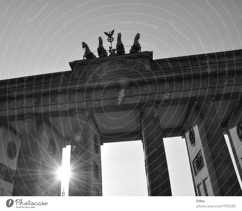 Wall (building) Wall (barrier) Facade Idyll Gate Monument Berlin Landmark Black & white photo Tourist Attraction Capital city Identity Door Light