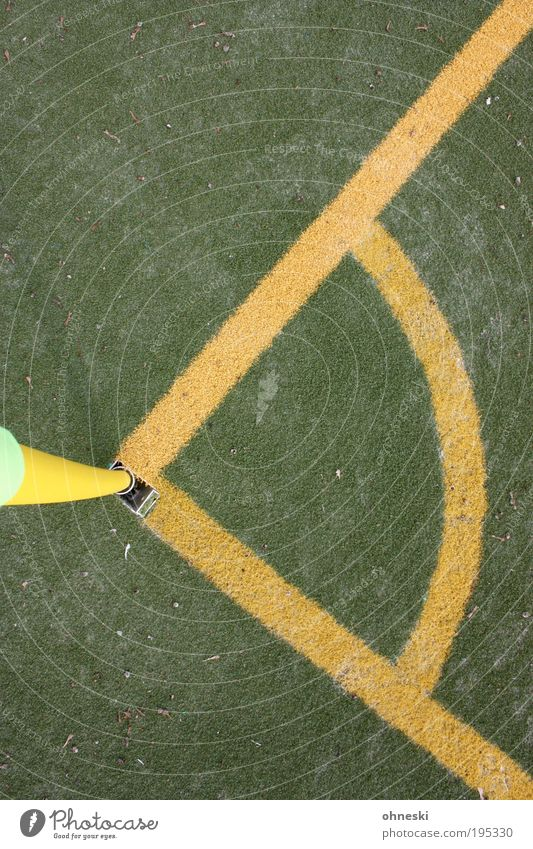 Maths and Sports Ball sports Success Loser Soccer Corner Side corner flag Sporting Complex Football pitch Yellow Green Australia World Cup World Cup 2010 90°