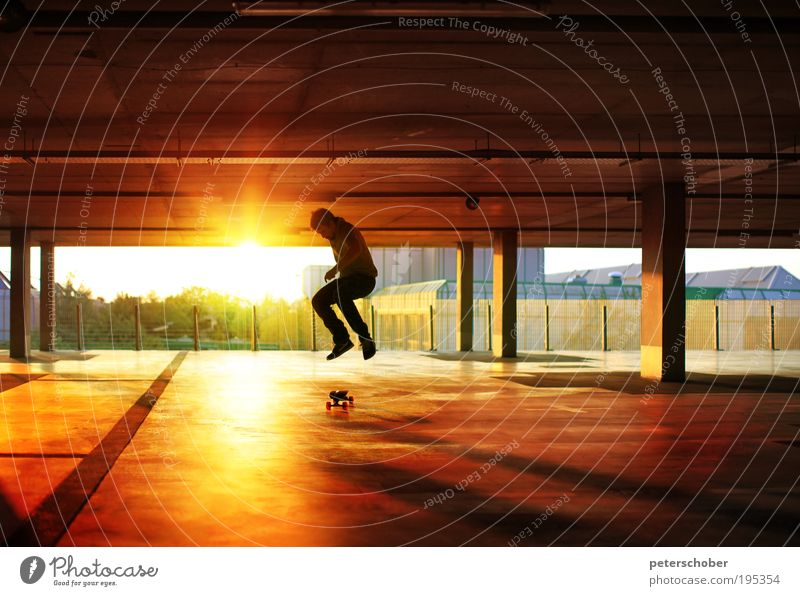 hangtime Sun Sports Masculine Young man Youth (Young adults) 1 Human being Youth culture Sunrise Sunset Industrial plant Building Romp Athletic Speed Yellow
