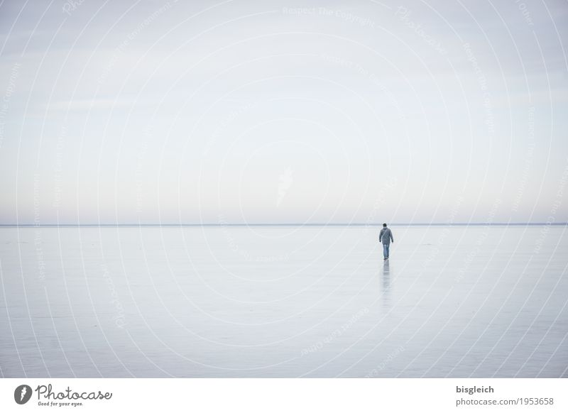 Human being Sky Blue Loneliness Calm Far-off places Winter Cold Gray Lake Horizon Ice Hiking Frost