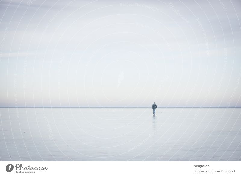 Human being Sky Man Blue Water Loneliness Far-off places Winter Adults Gray Lake Horizon Masculine Ice Hiking Climate
