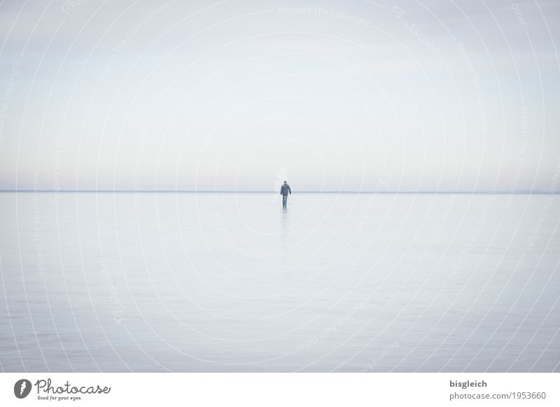 Human being Sky Blue Loneliness Calm Winter Cold Gray Lake Horizon Ice Hiking Frost