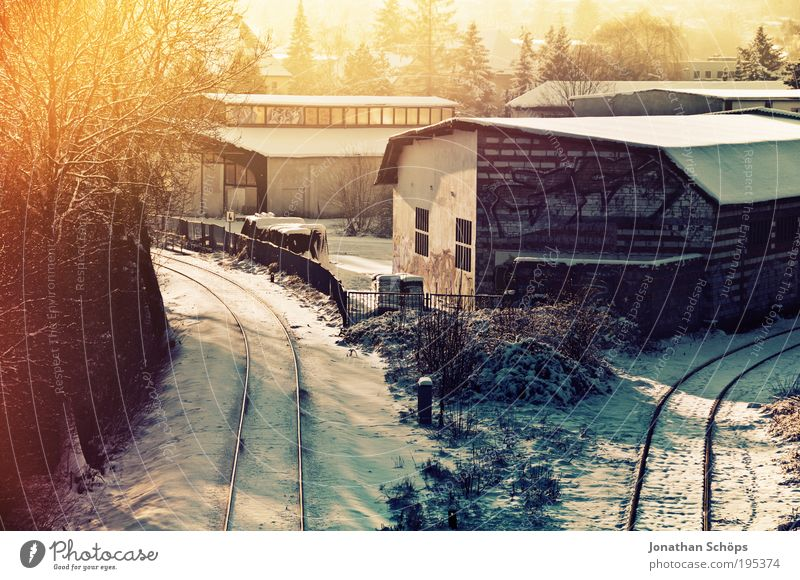 Old Winter House (Residential Structure) Emotions Lighting Transport Railroad Industry Bridge Logistics Broken Railroad tracks Train station