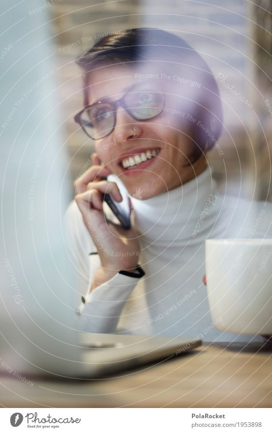Woman To talk Feminine Laughter Business Work and employment Modern Action Success Telecommunications Smiling Friendliness Coffee Telephone Café Stress