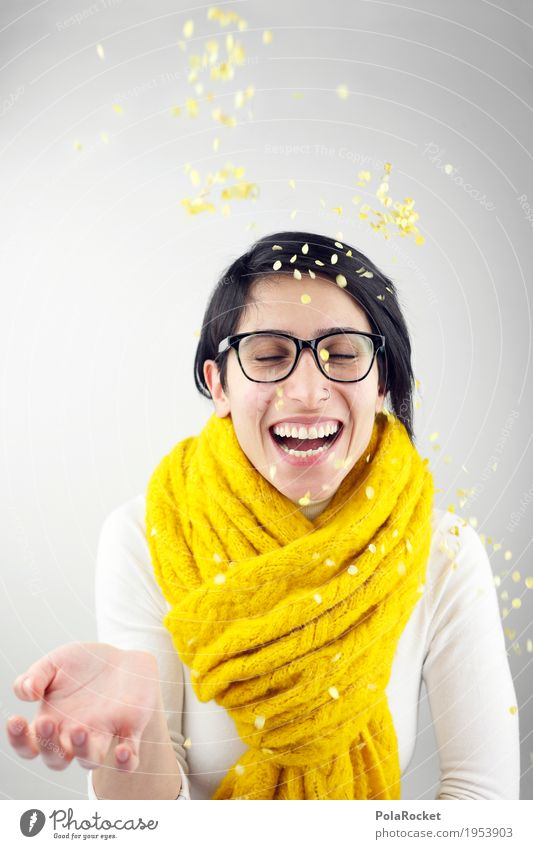 #A# Fun in yellow Feminine 1 Human being Joie de vivre (Vitality) Ease Joy Joybringer Confetti Laughter Scarf Yellow Party Party mood Party goer Party guest