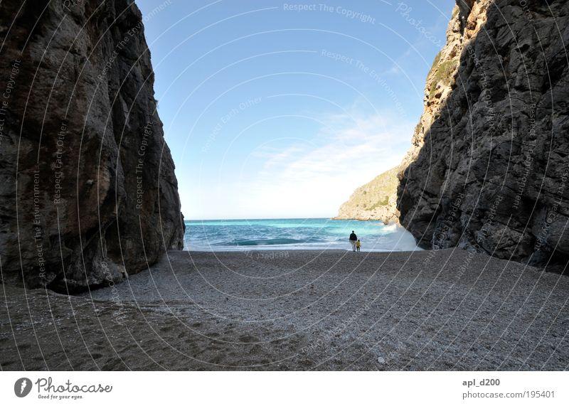 Human being Child Sky Man Nature Blue Water Ocean Beach Adults Environment Coast Air Dream Brown Infancy