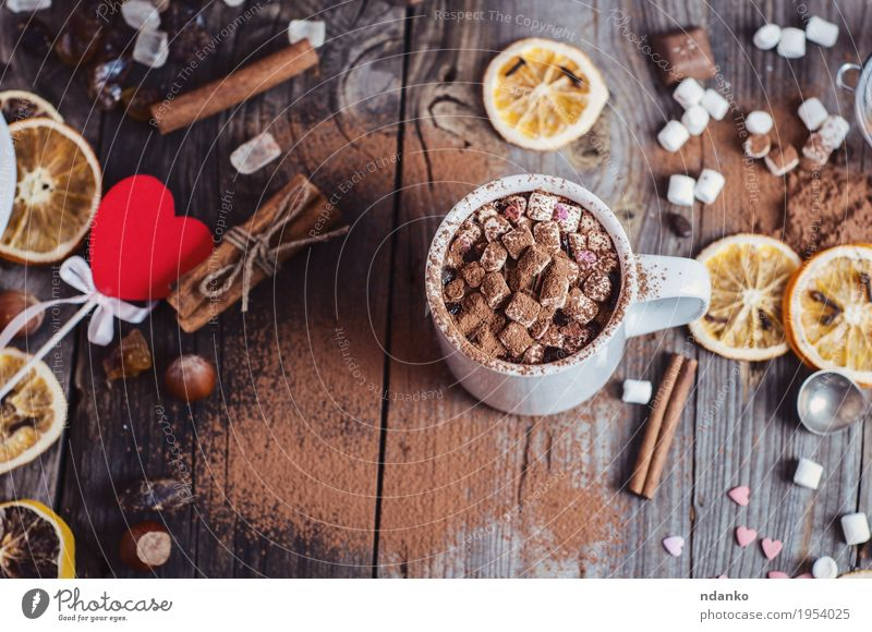 drink cocoa with marshmallows Red Eating Natural Wood Gray Brown Above Fruit Table To enjoy Heart Herbs and spices Beverage Delicious Candy Hot