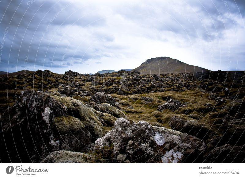 lava Nature Landscape Plant Earth Clouds Summer Moss Hill Rock Mountain Volcano Old Sharp-edged Firm Blue Brown Gray Green Climate Stagnating Past