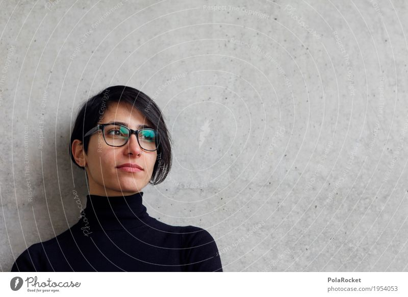#A# Looking into the future 1 Human being Future Career Forward-looking Dream of the future Phenomenon Woman Force Eyeglasses Decent Concrete wall Perspective