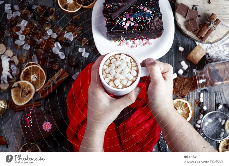 female hands holding a cup with a drink Woman Youth (Young adults) White Hand Red Dark 18 - 30 years Adults Love Wood Gray Brown Fruit Decoration Arm Table
