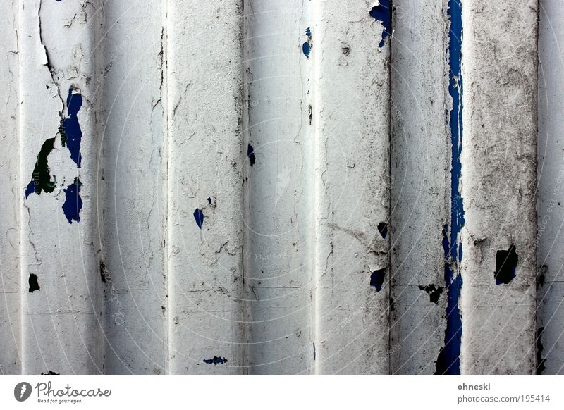 The paint is off Hut Manmade structures Building Architecture Wall (barrier) Wall (building) Garage Metal Old Change Time Destruction Stripe Varnish
