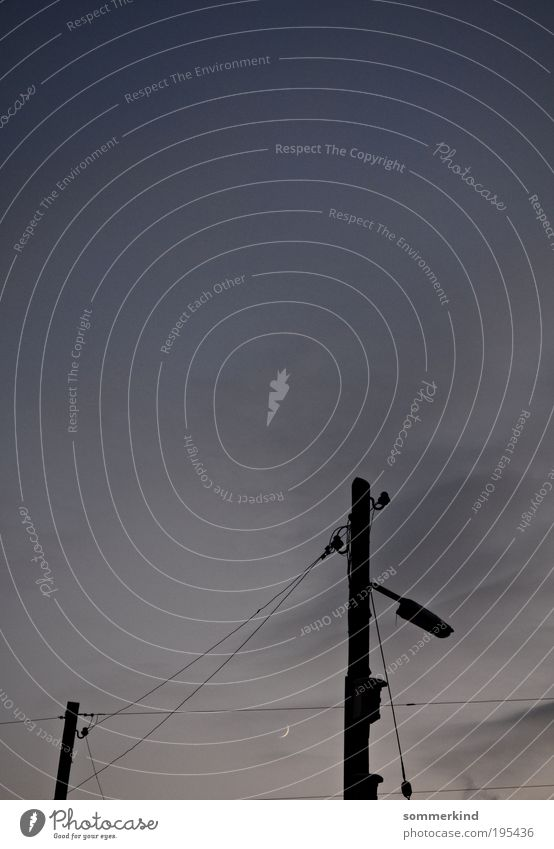 moonlight sonata Cable Energy industry Sky Clouds Night sky Moon High voltage power line Electricity pylon Lamp post Lantern Street lighting Steel cable Dark