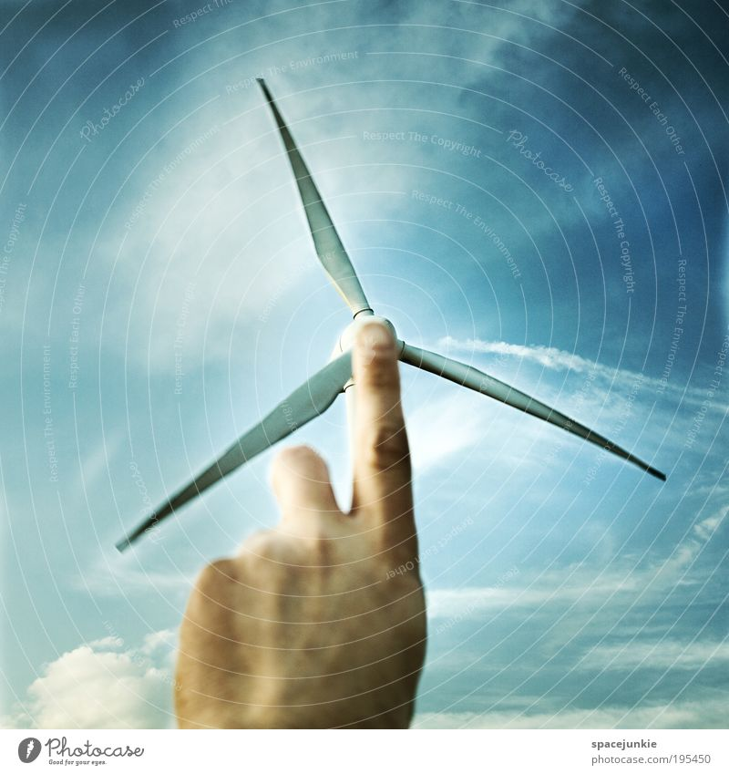 wind power Masculine Skin Hand Fingers Environment Sky Clouds Climate Weather Touch Movement Blue Wind Wind energy plant Energy Energy crisis Energy distributor