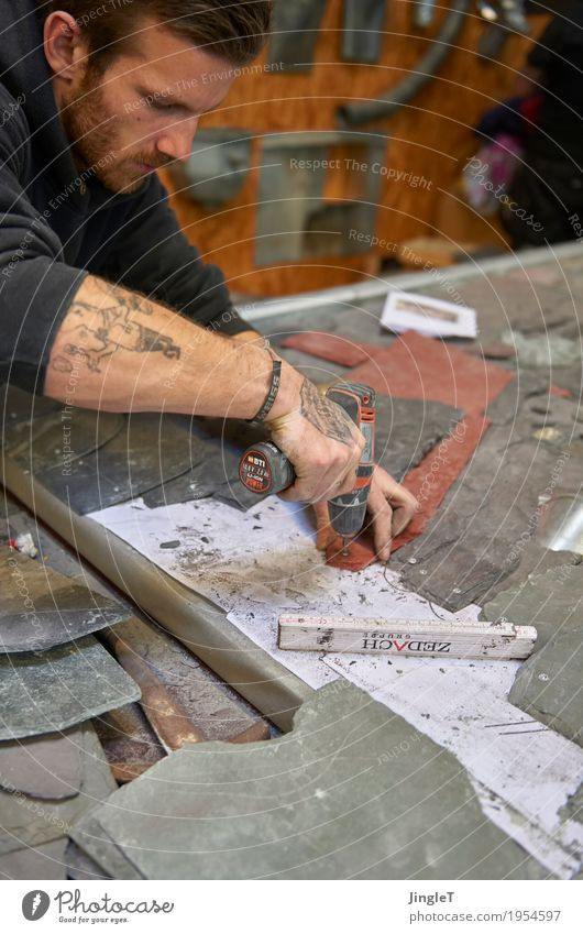 passion Profession Craftsperson Roofer Workplace Craft (trade) Construction site SME Tool Human being Masculine Young man Youth (Young adults) Skin Head Face