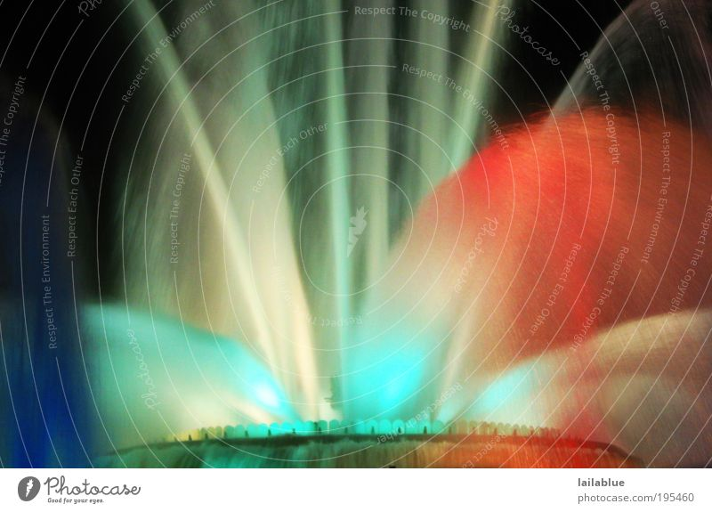 wet colours Event Fountain Water Movement Illuminate Blue Red Black White Joy Colour photo Exterior shot Abstract Deserted Night Artificial light Long exposure