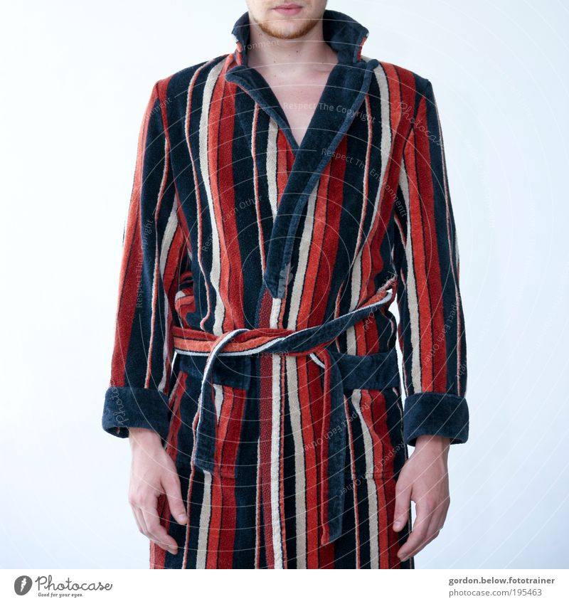 Human being Man Blue Red Calm Adults Fashion Masculine Clothing Uniqueness Retro Wellness 18 - 30 years Whimsical Hideous