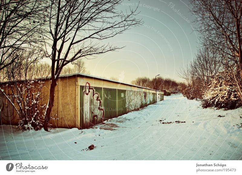 garage landscape Wall (barrier) Wall (building) Old Fantastic Blue Brown Gold Green White Emotions Garage Winter Tree Snowscape Parking area Graffiti Gate Row