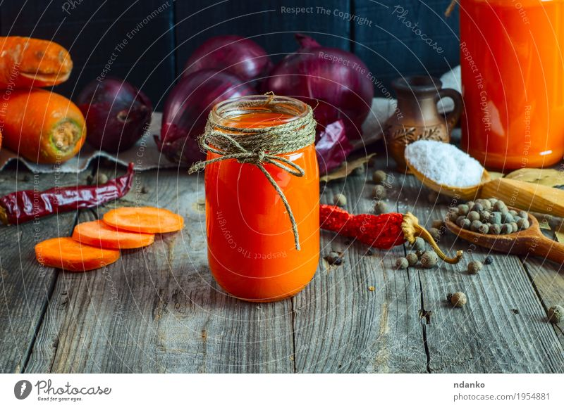 jars of fresh carrot juice Red Eating Natural Health care Gray Orange Nutrition Fresh Table Rope Herbs and spices Beverage Delicious Vegetable