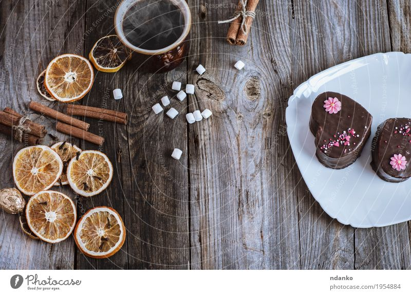 cup of hot black coffee and cakes on a white plate White Eating Wood Gray Brown Fruit Decoration Orange Table Beverage Kitchen Coffee Delicious Candy Hot