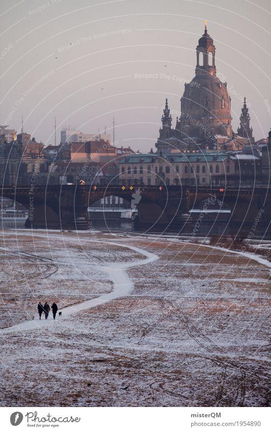 Winter walk. Work of art Lanes & trails Dresden Frauenkirche Tourist Attraction Dreamily Elbufer Elbtalaue Augustusbrücke Brühlsche Terrasse Capital city