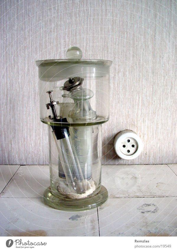 Glass with syringes Syringe Doctor Socket Medical practice Obscure Old Musical instrument Tile Healthy