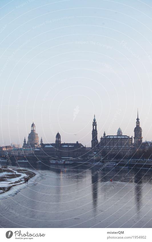 Winter Cold Skyline Capital city Dresden Saxony Work of art Elbe Baroque Frauenkirche Dresden Hofkirche Elbtalaue