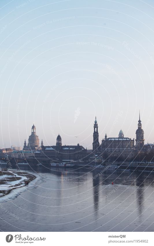Winter in Dresden. Work of art Cold Skyline Saxony Capital city Frauenkirche Dresden Hofkirche Reflection Baroque Elbe Elbtalaue Colour photo Multicoloured