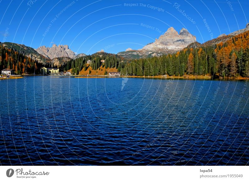 Lake Misurina in the Dolomites with Three Peaks, South Tyrol, Italy Environment Nature Landscape Water Sky Cloudless sky Sunlight Autumn Beautiful weather