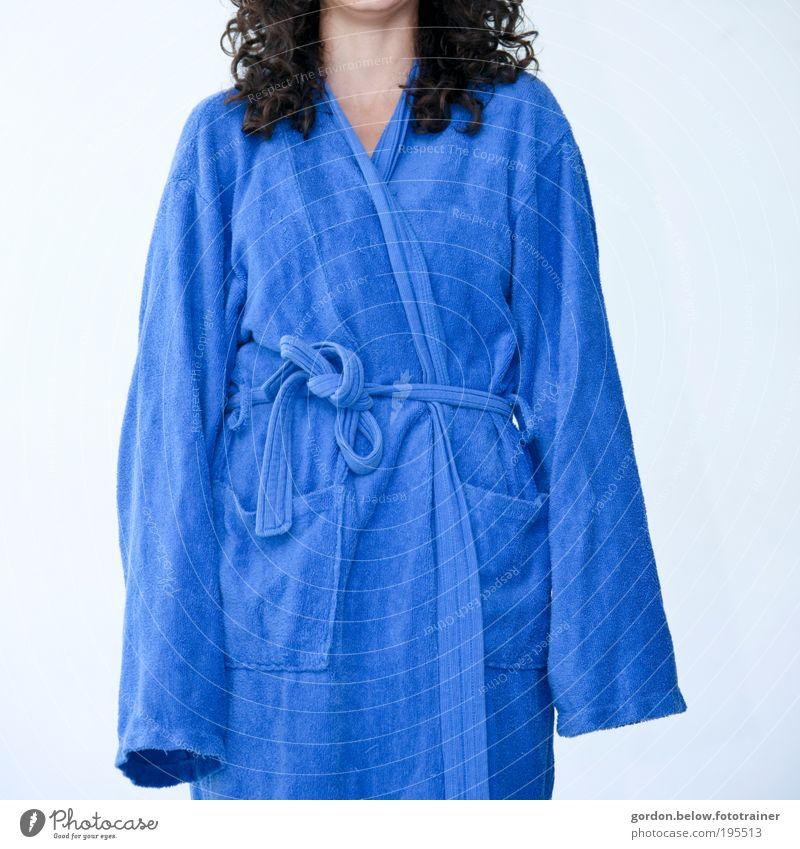 the wrong number Wellness Bathroom Swimming pool Feminine Fashion Coat Bathrobe Long-haired Large Blue Colour photo Studio shot Flash photo Deep depth of field