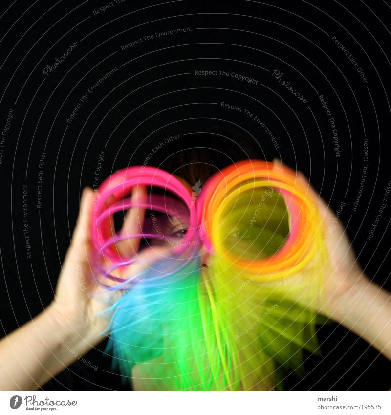 spectacled cobra Leisure and hobbies Playing Human being Woman Adults Head 1 Art Movement Multicoloured Spiral Toys Political movements Motion blur Eyes