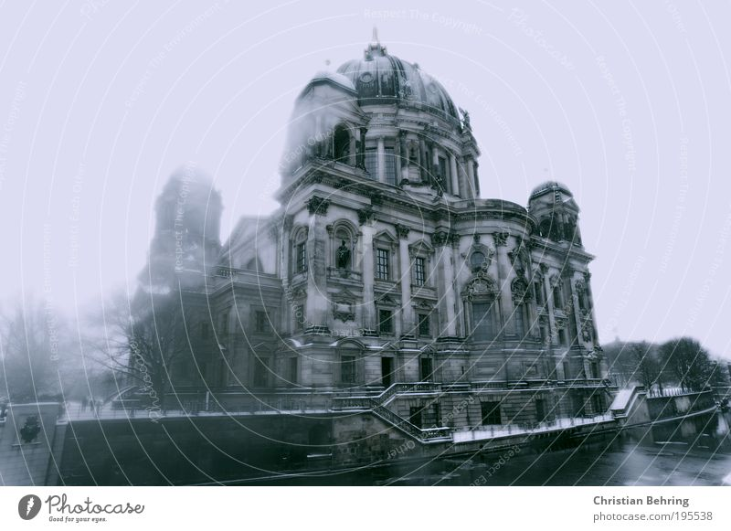 Berlin Cathedral in Winter Downtown Berlin Capital city House (Residential Structure) Church Dome Manmade structures Building Architecture Stairs Facade Window